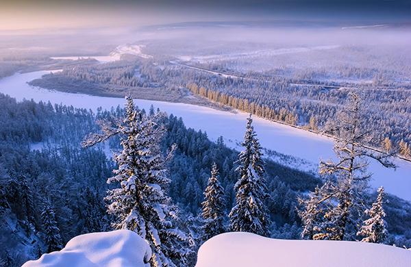 River Valley in South Yakutia Chulman winter