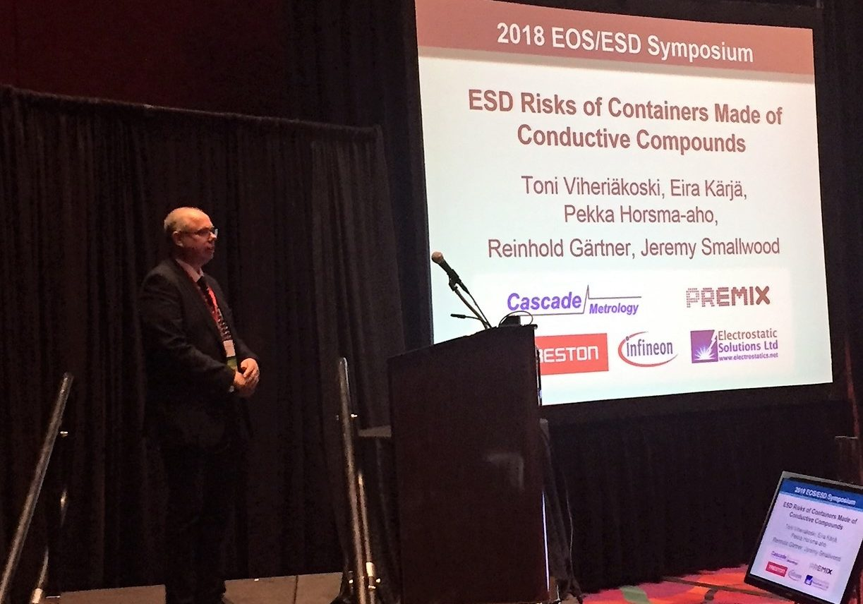 """Mr. Toni Viheriäkoski presenting a techical paper: """"ESD Risks of Containers Made of Conductive Compounds"""" at 40th EOS/ESD Symposium in Reno, Nevada."""